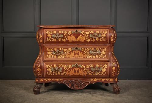 18th Century Dutch Marquetry Inlaid Walnut Bombe Shaped Chest (1 of 11)