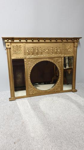 Regency Gilt Tryptic Overmantle Mirror (1 of 6)