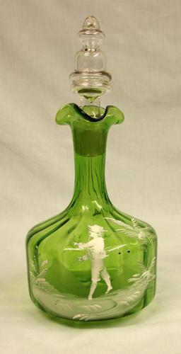 Antique Mary Gregory Green Glass Decanter (1 of 6)