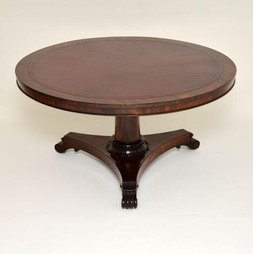 Antique William IV Rosewood Leather Top Drum, Dining or Centre Table (1 of 11)