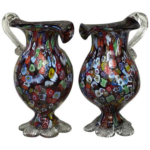 2 Beautiful Italian Murano Fratelli & Torso Millefiori Glass Vases (1 of 34)