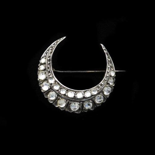 Antique Rose Cut Paste Gold and Silver Crescent Moon Brooch Pin (1 of 9)