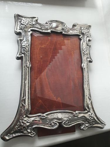 "Antique Art Nouveau HM Sterling Silver Frame ""DINNA FORGIT"" Birmingham 1904 (1 of 9)"