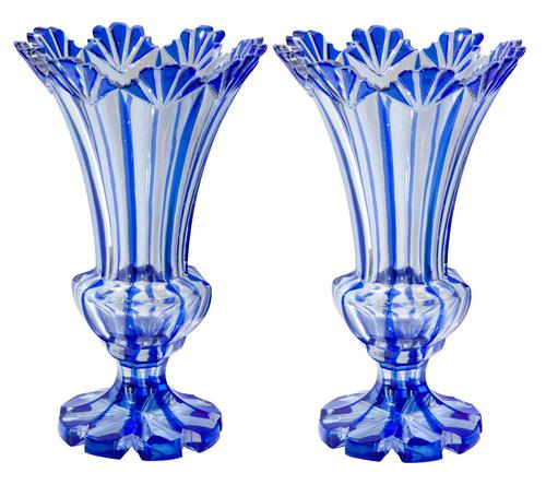 Pair of Blue Flash Overlay Glass Vases (1 of 6)