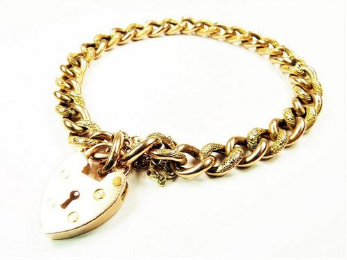 Victorian Hallmarked Gold Heart Padlock Bracelet (1 of 6)