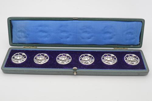 Art Nouveau Set of Edwardian Silver Floral Pierced Buttons (1 of 4)