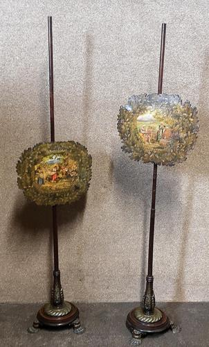 Pair of Early 19th Century Mahogany & Brass Mounted Pole Screens (1 of 12)