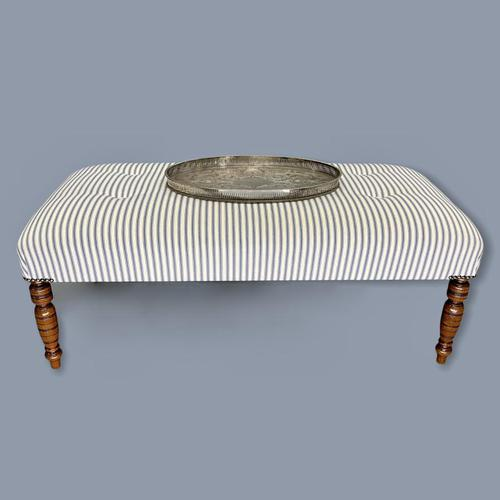Buttoned Ticking Low Footstool (1 of 8)