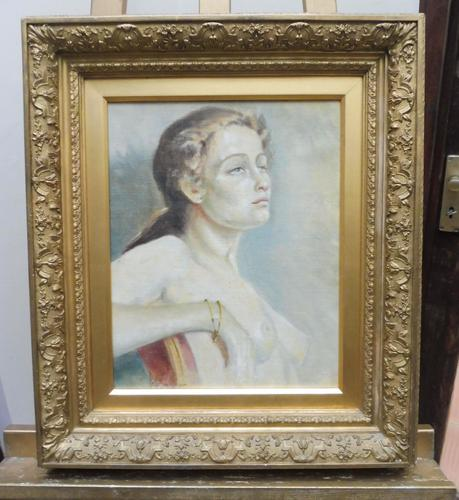Oil on Canvas Portrait of Sarah Artist Peter Sanderson Mall Gallery Label Verso (1 of 10)