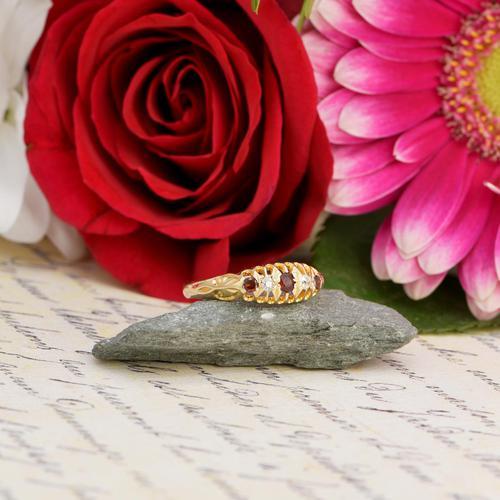 The Antique 1915 Three Garnet & Two Diamond Ring (1 of 5)
