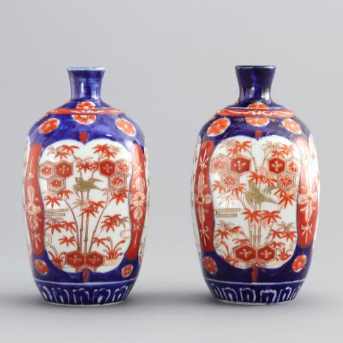 Pair of Japanese Meiji Period Square Form Imari Vases c.1890 (1 of 9)