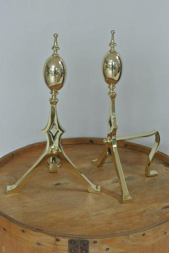 """Large 18"""" Aesthetic Movement Brass Fire-dogs Fire Irons Rest Andirons c.1880 (1 of 7)"""