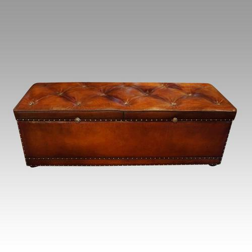 Large Victorian Leather Ottoman (1 of 9)