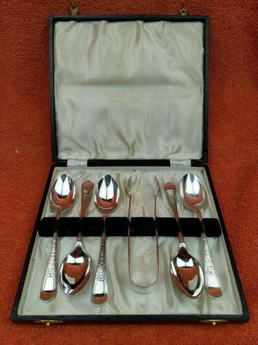 Antique Sterling Silver Hallmarked Cased 5 Spoons & Sugar Tongs 1906 Sheffield W S Savage & Co (1 of 12)