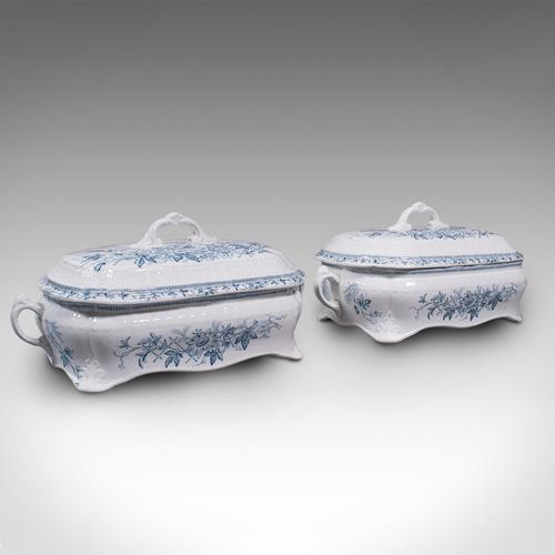 Pair of Antique Serving Tureens, English, Ceramic, Lidded Dish, Victorian, 1900 (1 of 12)