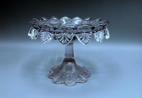 Small English Victorian Glass Tazza - 1891 (1 of 9)
