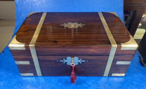 Victorian Full Brassbound Rosewood Writing Slope (1 of 19)