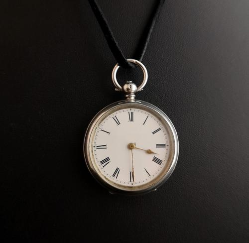 Antique Fine Silver Ladies Pocket Watch, Fob Watch (1 of 14)
