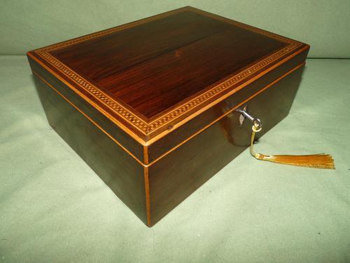 Georgian Inlaid Rosewood Jewellery / Table Box c.1825 (1 of 12)