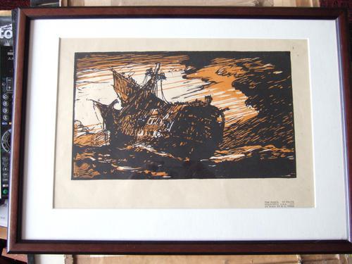 "After Frank Brangwyn RA: Woodcut ""The Wreck"" by H G Webb ca 1912 (1 of 4)"