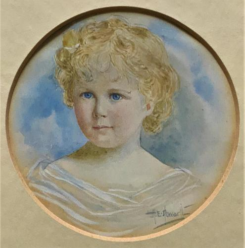 Albany E Howarth ARE Miniature Watercolour Portrait Painting of Little Girl (1 of 11)