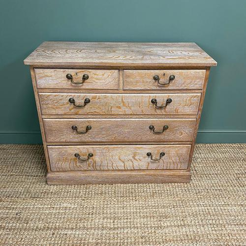 Superb Quality Limed Oak Antique Chest of Drawers (1 of 8)