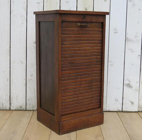 Oak Tambour Front Filing Bedside Cabinet (1 of 7)