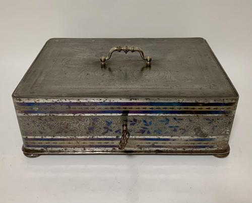 Rare Antique Victorian Etched Steel Strongbox Safe with Key (1 of 14)