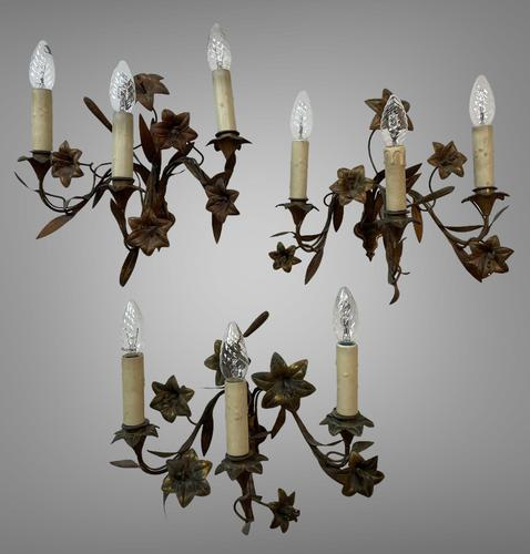 Vintage French Set of Three Wall Lights Sconces Rustic Gilt Bronze Lilies (1 of 10)