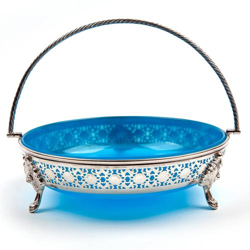 Large Victorian Circular Blue Opeline Glass Lined Silver Plated Basket (1 of 6)