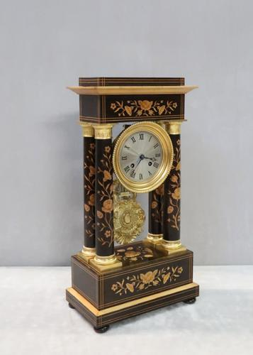 French Ebonised and Inlaid Portico Mantel Clock (1 of 10)