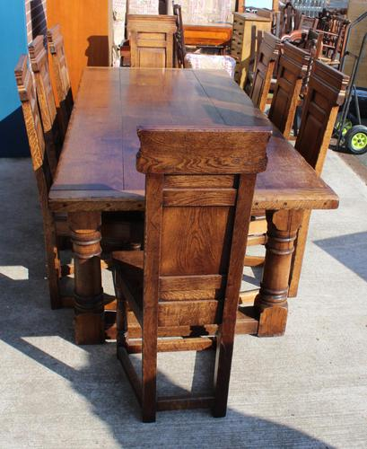 1960's Oak Refectory Table with Set 8 Jacobean style Oak Highback Dining Chairs (1 of 7)