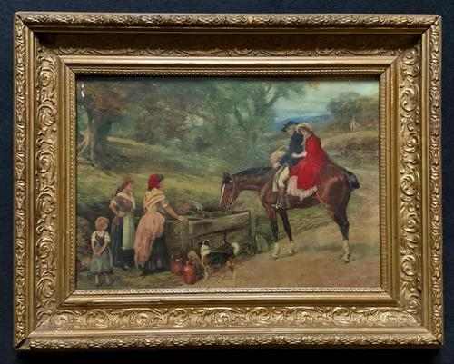 19thC English School - Horse & Hound Country landscape Oil Painting (1 of 11)
