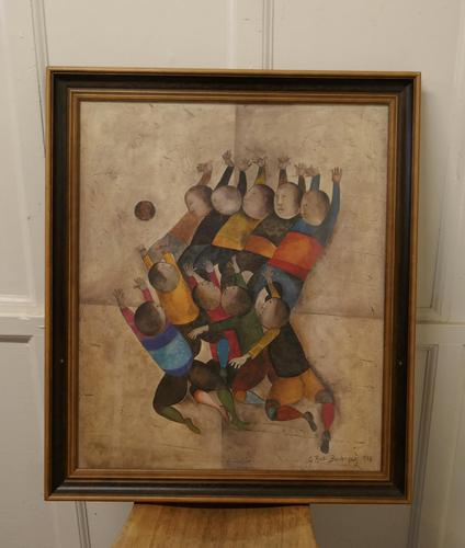 """Original Framed 1970s Print """"Ballon Players"""" by Graciela Rodo Boulanger (1 of 7)"""