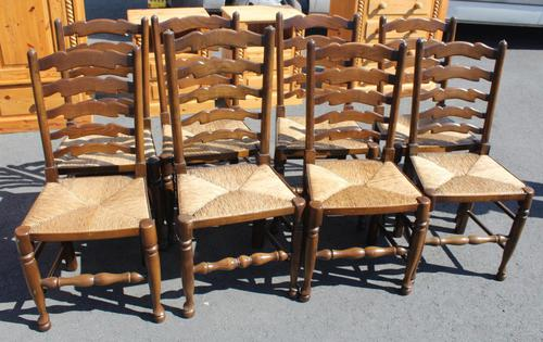 1940's Set of 8 Oak Ladder Back Dining Chairs with Rush Seats (1 of 3)
