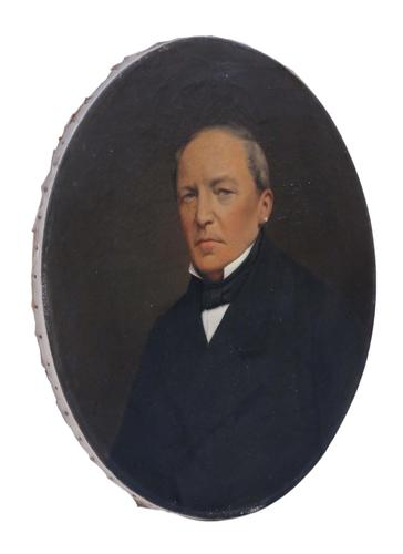 Quality Large Antique Oval Oil on Canvas Portrait Painting of a Gentleman 19th Century (1 of 4)