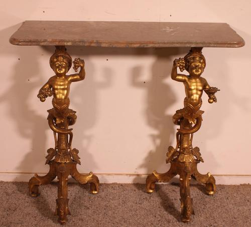 Venetian Console in Gilded Wood & Marble - 18th Century (1 of 14)