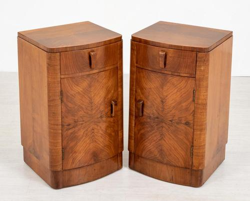 Pretty Pair of Walnut Art Deco Bedside Cabinets (1 of 7)