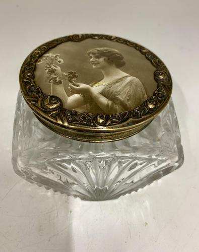 Art Nouveau French Glass Trinket Box c.1915 (1 of 7)