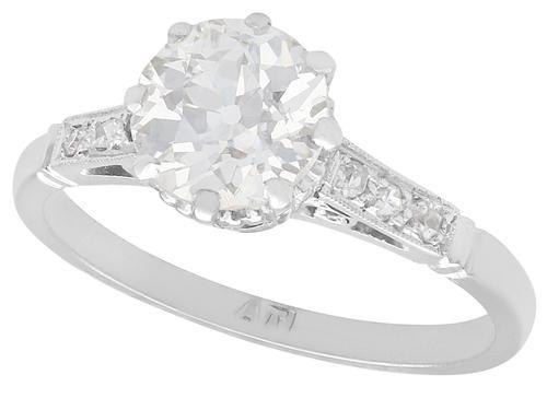 1.08ct Diamond and Platinum Solitaire Ring - Antique Circa 1930 (1 of 9)