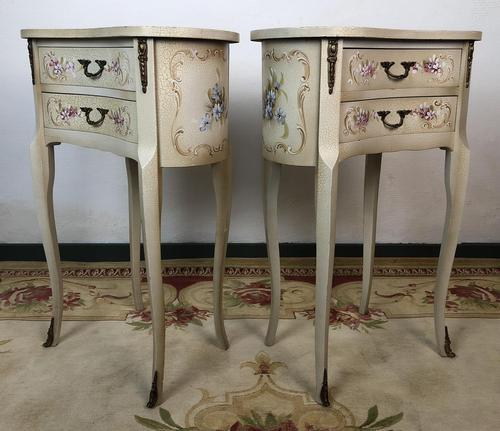 Vintage French Shabby Chic Kidney Shaped Floral Bedside Cabinets (1 of 8)