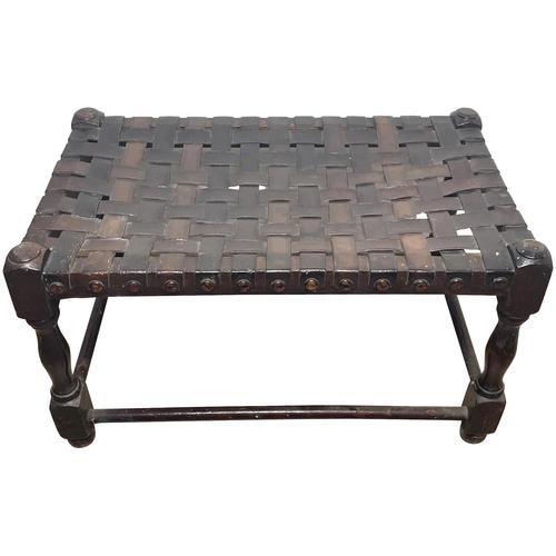 Art Deco Original English Handmade Oak & Leather Strapped Brass Studded Footstool (1 of 22)