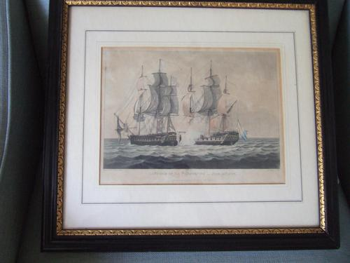 """19th Century Aquatint of """"The Capture of La Proserpine - June 13th 1796"""" Dated 1816, from Jenkins """"Naval Achievements of Great Britain"""" (1 of 6)"""