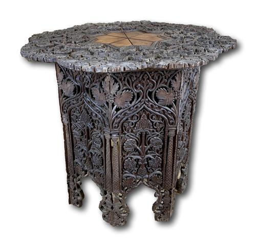 19th Century Indian Carved Occasional Table (1 of 7)