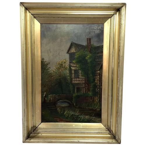 Edwardian Oil Painting Historical Tudor House Little Moreton Hall Congleton (1 of 12)