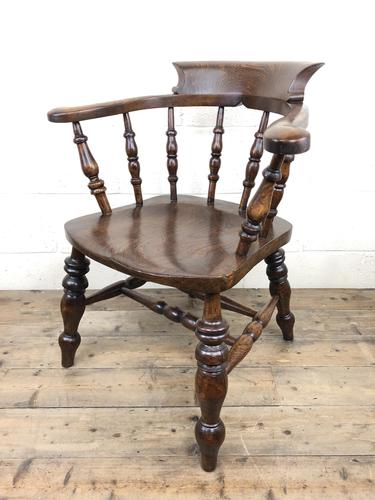 19th Century Ash and Elm Smoker's Bow Chair or Captain's Armchair (1 of 11)