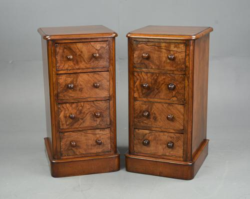 Pair of Victorian Burr Walnut Bedside Chests of Drawers (1 of 5)
