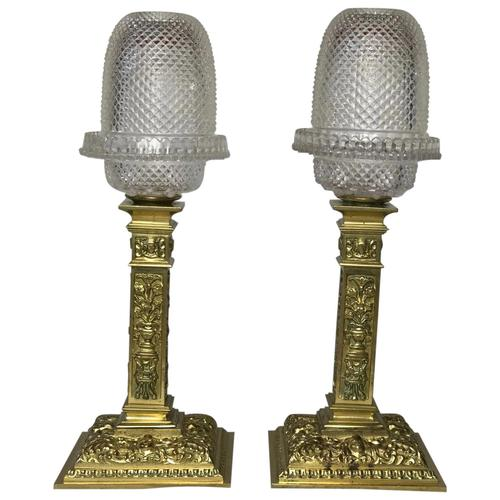 Pair of Victorian Clarke's Cricklite Gilt Bronze Cut Glass Domed Shades Fairy Lamps (1 of 12)