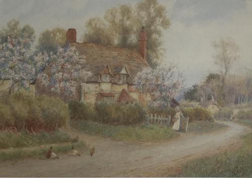 John H Tyson Watercolour 'A Country Cotage Near Horsham' (1 of 3)
