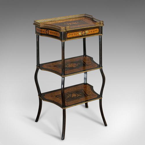 Antique Etagere, Italian, Mahogany, Boxwood, 3 Tier Whatnot, Victorian c.1900 (1 of 12)